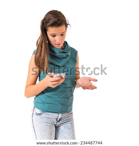 Girl talking to mobile over white background  - stock photo