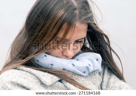 Girl thinking about warm weather - stock photo