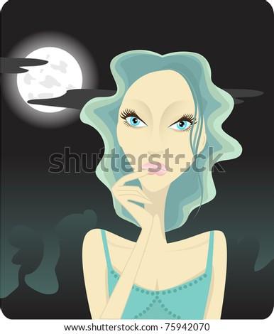 Girl thinking on the moon light - stock photo