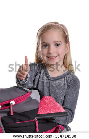 girl thumbs-up with backpack white background - stock photo