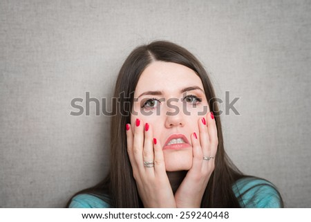 girl, tightens the skin on the face - stock photo