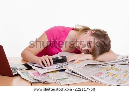 Girl tired of useless job search - stock photo