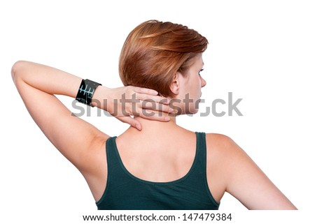 Girl touching her neck, wearing an Internet Smart Watch. On the screen you can see an EKG Heartbeat Frequenz. All Texts, Icons, Interfaces of the Smart Watch where created from scratch by myself. - stock photo