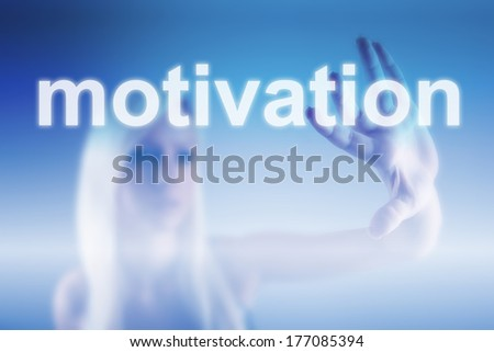 Girl touching screen with motivation sign - business concept - stock photo