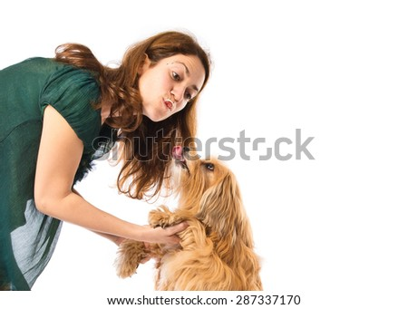 Girl training a dog