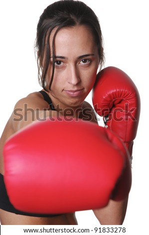 Girl training body combat, isolated on white background