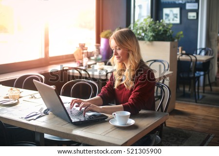 Girl typing on the keyboard