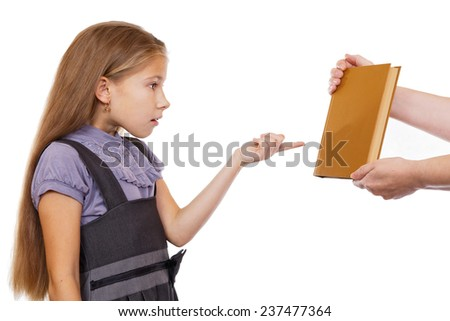 Girl unpleasantly surprised by a gift - the book