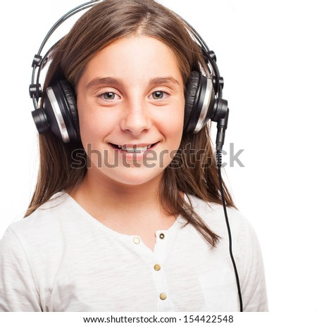 girl using headphones on a white background
