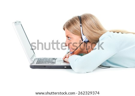 Girl using laptop and talking to a friend