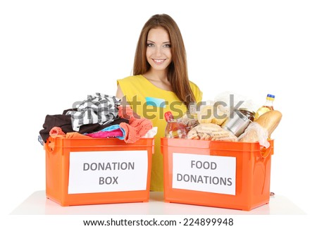 Girl volunteer with donation box  isolated on white - stock photo