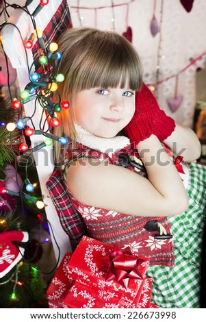 Girl waiting for her christmas gift