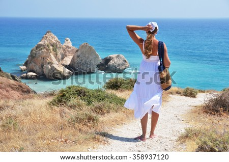Girl walking to the beach at the Aphrodite birthplace, Cyprus - stock photo