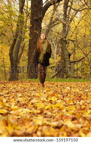 girl walks on leaves in autumn park - stock photo
