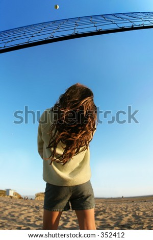 Girl watching the ball - stock photo