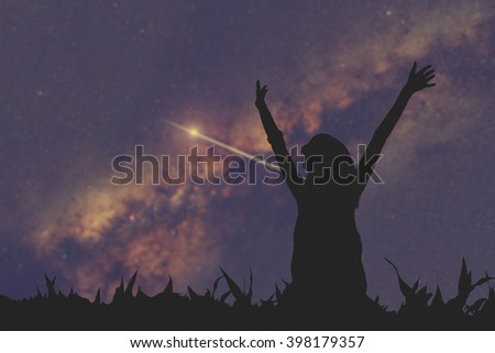 Girl watching the milky way. Stars and girl are only my work. No elements of NASA or other third party.