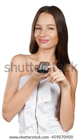 girl  watching tv - stock photo
