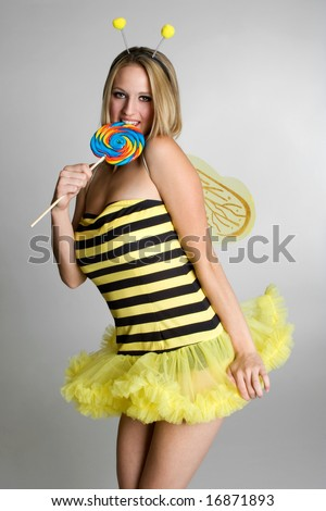Girl Wearing Bee Costume - stock photo