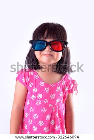Girl wearing 3D glasses - stock photo