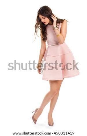 Girl Wears Light Pink Dress Dark Stock Photo 450311419 - Shutterstock