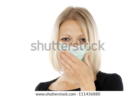 girl who suffers a medical mask - stock photo