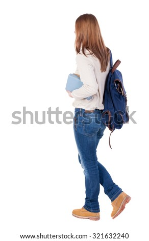 Girl with a backpack on his back is a stack of books. back view. Rear view people collection.  backside view of person.  Isolated over white background. - stock photo
