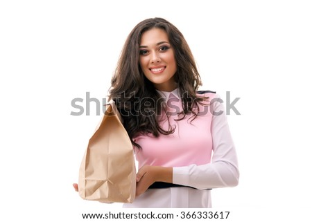 Girl with a bag of food