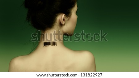Girl with a bar code on her neck, the protection personal data