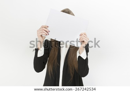 girl with a blank sheet of paper in the hands