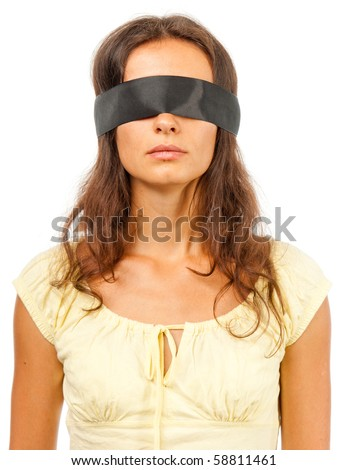 Girl with a blindfold - stock photo