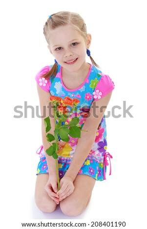 Girl with a bouquet of flowers on a white background .kindergarten, the concept of childhood and joy, teens - stock photo