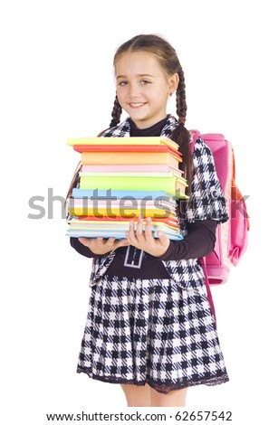 Girl with a briefcase and books, white background