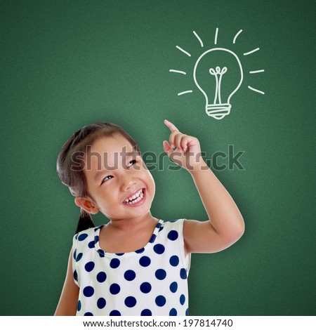 girl with a bright idea symbol pointing - stock photo