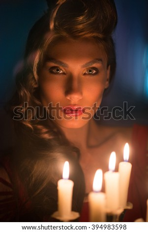 girl with a candlestick - stock photo