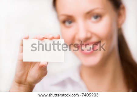 girl with a card