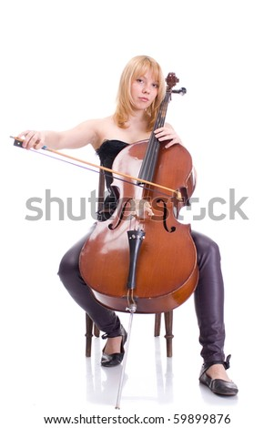 girl with a cello with a white background - stock photo