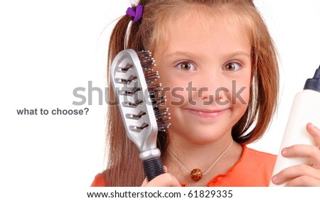 Girl with a comb in hair curlers on a white background