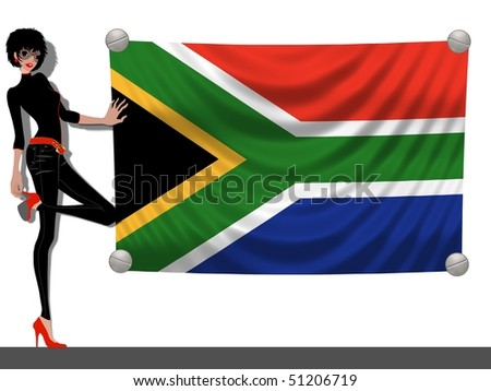 Girl with a Flag of South Africa