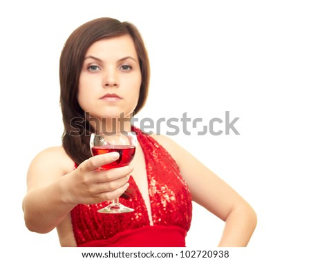 Girl with a glass on a white background