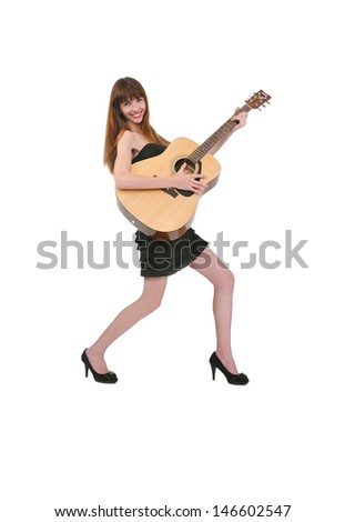 girl with a guitar in her hands, music