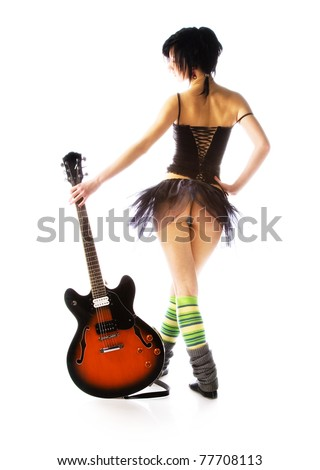 Girl with a guitar on a white background - stock photo