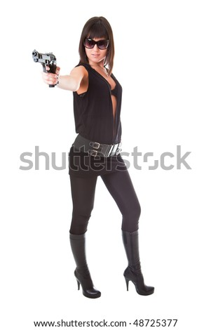 Girl with a gun isolated on a white background - stock photo