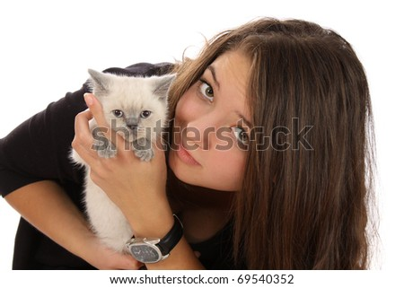 girl with a kitten on a white background it is isolated.