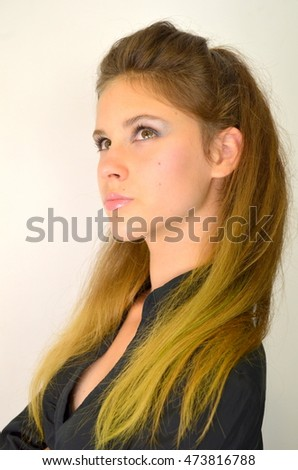 Girl with a long tail, painted Ombre Hair