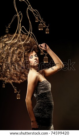 girl with a lot of curly hair and net