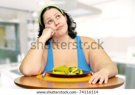 girl with a measuring tape - stock photo