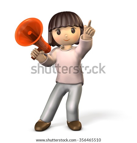 Girl with a megaphone in one hand. She is pointing at something.