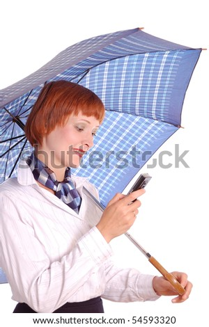 girl with a mobile phone and blue umbrella isolated on white