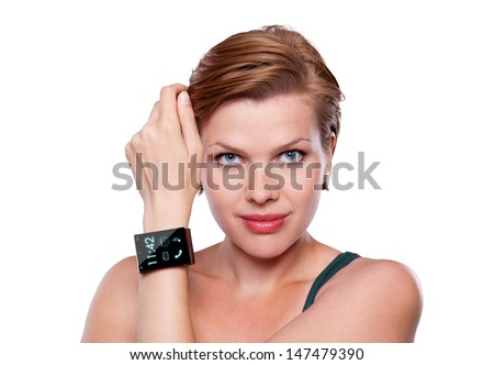 Girl with a modern Internet Smart Watch isolated on white. On the screen you can see the lockscreen. All Texts, Icons, Computer Interfaces of the Smart Watch where created from scratch by myself. - stock photo