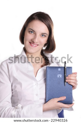 girl with a notebook on a white background